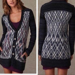 Free People Foxtrot Cardigan argyle wool button up